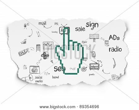 Advertising concept: Mouse Cursor on Torn Paper background