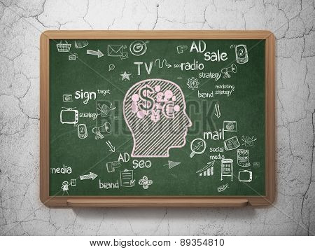 Advertising concept: Head With Finance Symbol on School Board