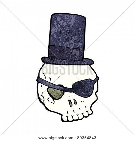 skull in top hat cartoon