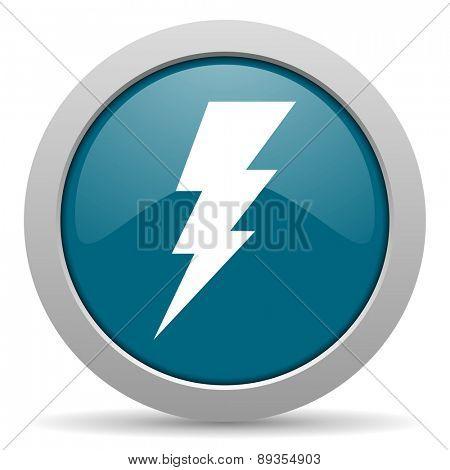 bolt blue glossy web icon
