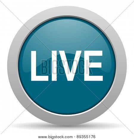 live blue glossy web icon