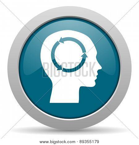 head blue glossy web icon