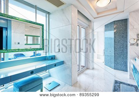 Hangzhou,China-April 22,2014:China decorated bath room interior of Dragon Hotel.