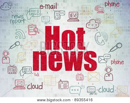News concept: Hot News on Digital Paper background
