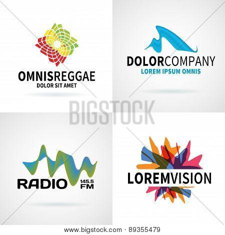 Set of modern colorful abstract logo emblem vector design elements