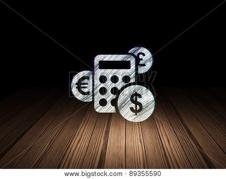News concept: Calculator in grunge dark room