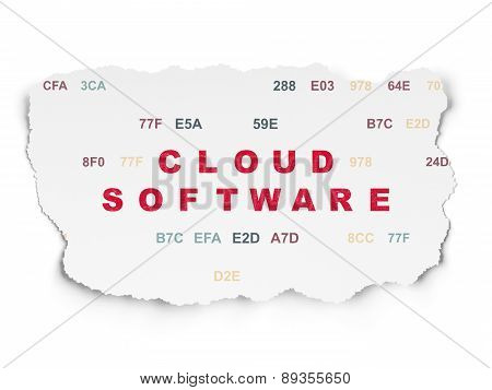 Cloud networking concept: Cloud Software on Torn Paper
