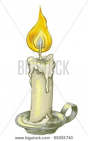 Sketch Illustration of a Lighted Candle on a Vintage Candle Holder