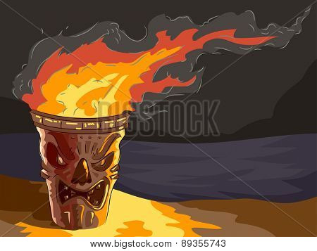 Illustration of a lighted Tiki themed Torch by the beach