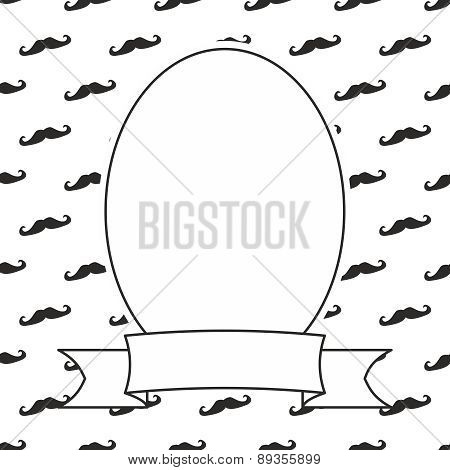 Hand drawn vector frame on black and white mustache background