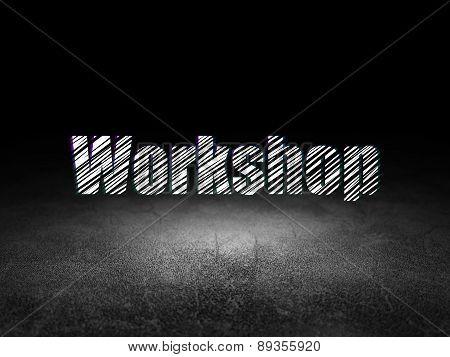 Education concept: Workshop in grunge dark room