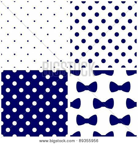 Tile dark blue and white vector pattern set with polka dots and bows