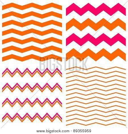 Tile vector pattern set with orange and pink zig zag on white background