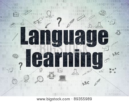 Education concept: Language Learning on Digital Paper background