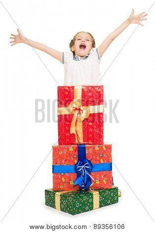 girl with gift boxes on white