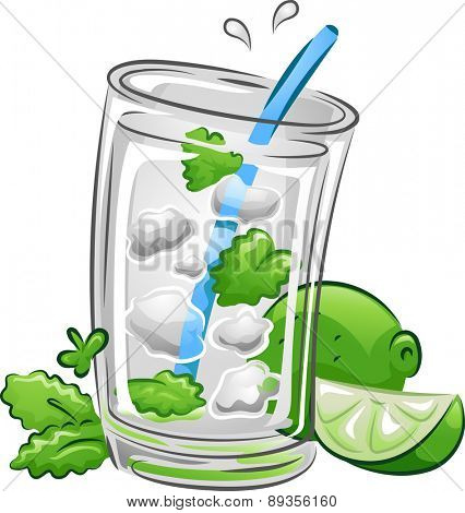Illustration of a Mojito Drink with Lime and Mint Leaves