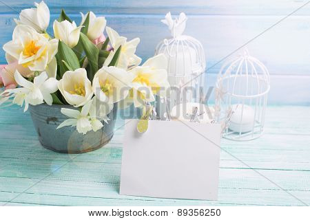 Background With Fresh Narcissus And Tulips In Bucket
