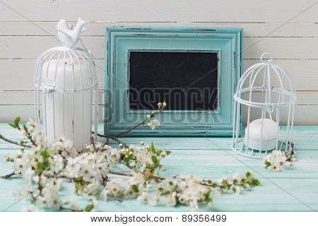 Background Flowers, Candles And Blackboard