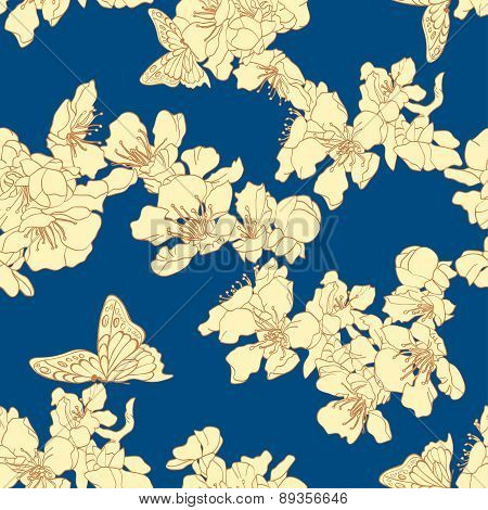Seamless Background With Butterflies And Blossom Apricot On Blue Background