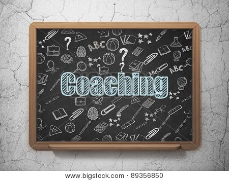 Education concept: Coaching on School Board background