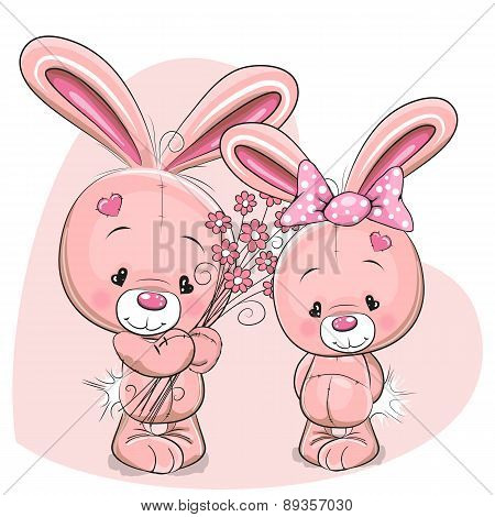 Two Cartoon Pink Rabbits