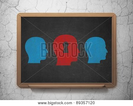 Education concept: head with keyhole icon on School Board