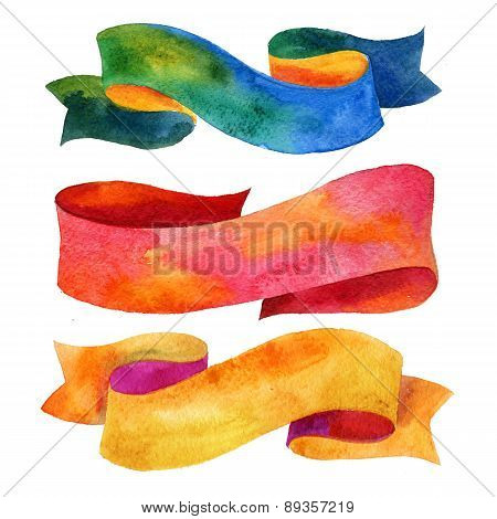 Watercolors ribbons and banners for text.  Collection of Watercolor design elements, backgrounds, la