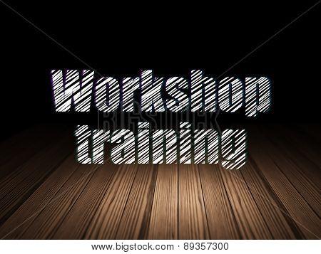 Education concept: Workshop Training in grunge dark room