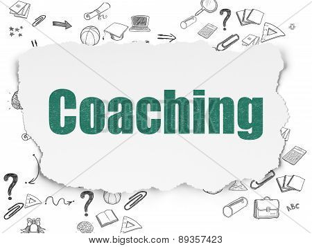 Education concept: Coaching on Torn Paper background