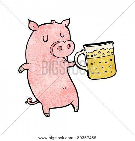 cartoon pig drinking a pint of beer