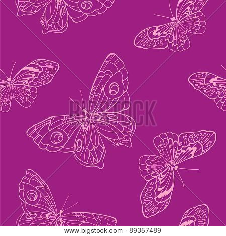 Seamless Background With Butterflies On Violet Background