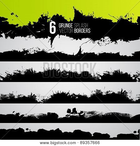 Grunge Drawn Splashes Collection, Black Silhouettes