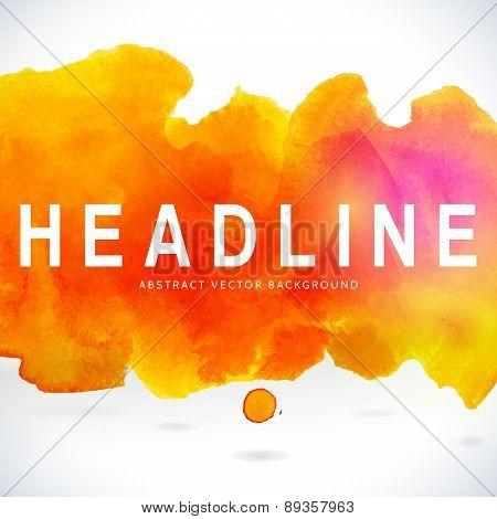 Orange Centered Decorative Watercolor Banner