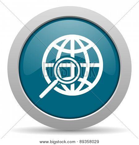 search blue glossy web icon