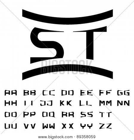 vector black simple alphabet initials
