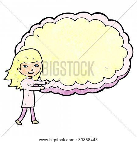 cartoon girl presenting cloud text space