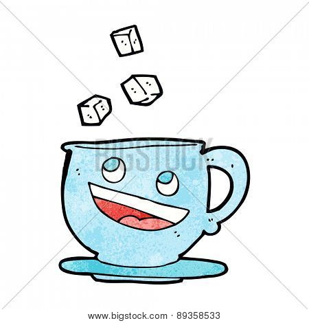 cartoon sugar lumps falling into tea cup