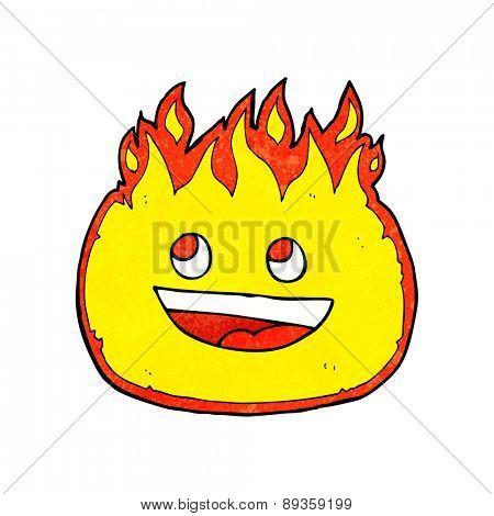 cartoon happy flame character