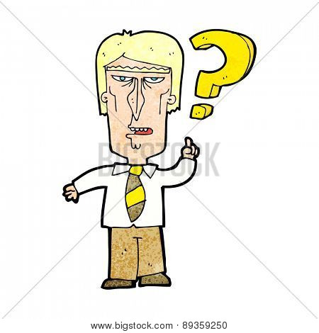cartoon angry man asking question
