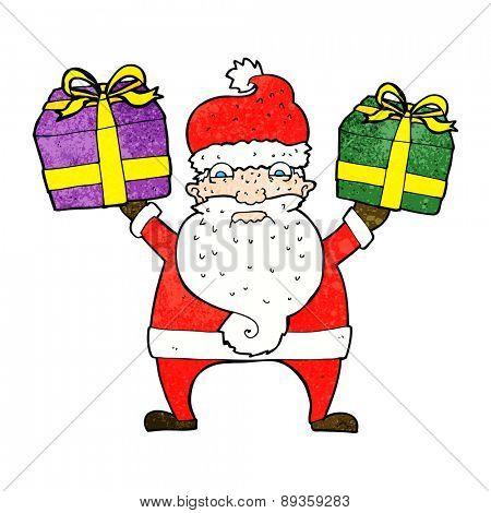 cartoon angry santa bearing gifts