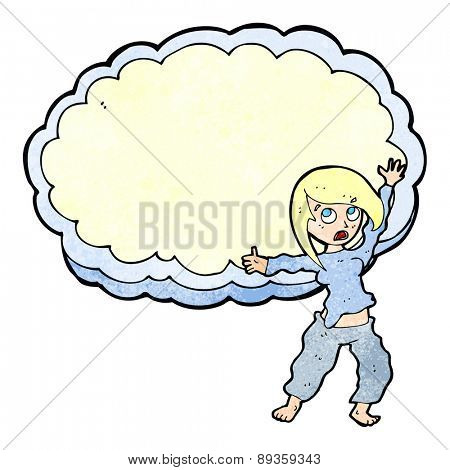 cartoon stressed woman in front of cloud with space for text