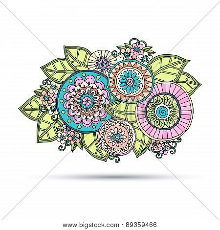 Paisley Mehndi Doodles Abstract Floral Vector Design Element. Colored Version.