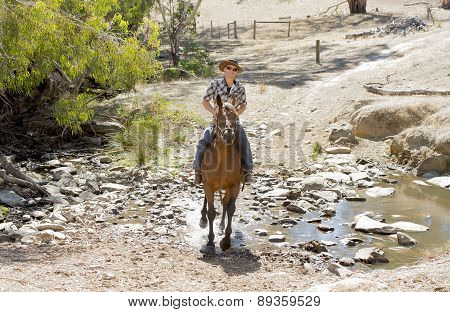 Instructor Or Cattleman Riding Horse In Sunglasses, Cowboy Hat And Rider Boots