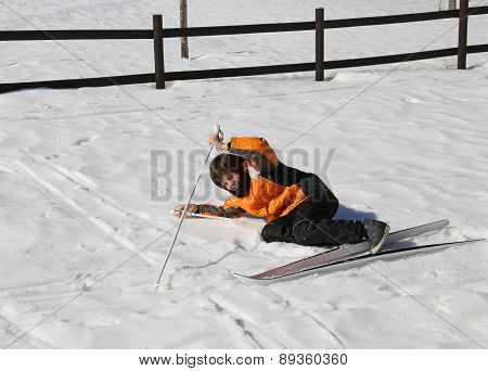 Inexperienced Boy Trying For The First Time The Cross-country Skiing