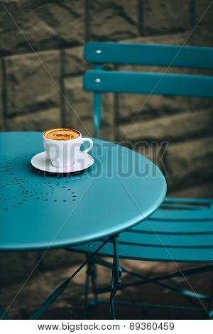 Cup of coffee in street cafe