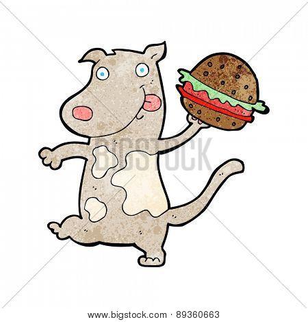 cartoon hungry dog with burger