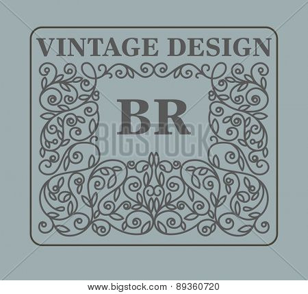 Vintage floral frame with copy space for text in trendy mono line style - monogram design element. Vector illustration.