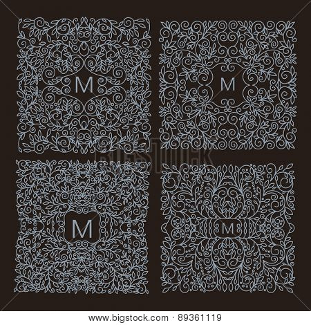Vintage Vector floral frame with copy space for text in trendy mono line style - monogram design element