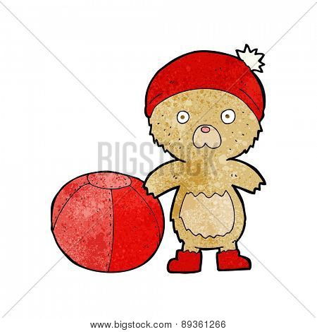 cartoon bear in hat with ball