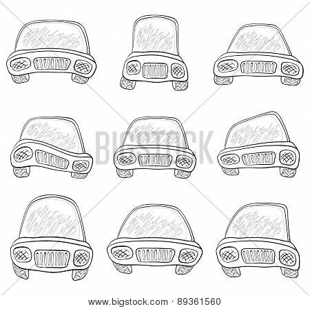 Cartoon, set cars, contours